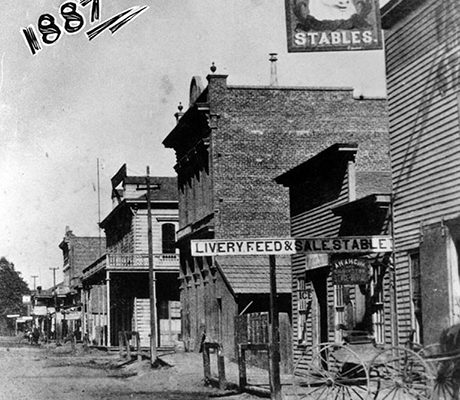 Anaheim -- looking very much like an Old West town in 1887. (LAPL: 00050047) Bizarre Los Angeles