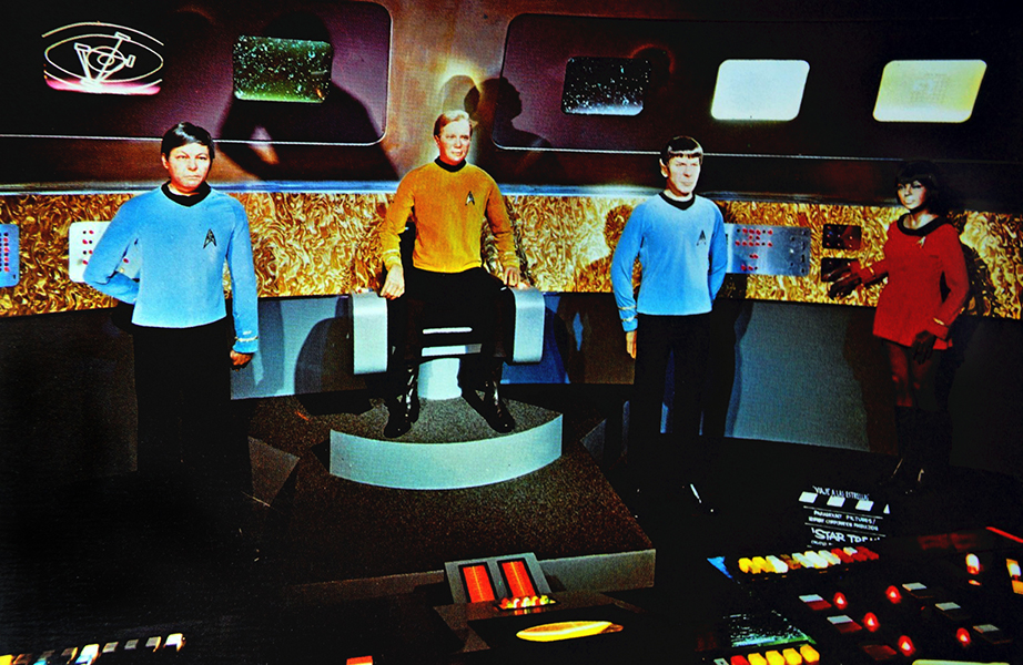 Wax likenesses of four Star Trek cast members once displayed at the Movieland Wax Museum in Buena Park, which closed in 2005. This image was probably taken in the 1970s. (Bizarre Los Angeles)