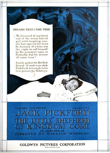 "Jack Pickford in ""The Little Shepherd of Kingdom Come"" (1920), a lost film. Bizarre Los Angeles"