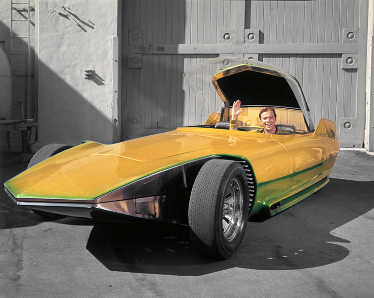 "William Shatner about to go boldly where no man has gone before -- in Gene Winfield's custom-built ""The Reactor,"" a car that was featured in an episode of Star Trek (as a futuristic magazine ad?!?)."