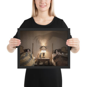 """Haunted by History Collection – Framed photo paper poster – Colorized version of """"Spooky Night at the Glen Tavern Inn"""" by Craig Owens Framed photo paper poster"""