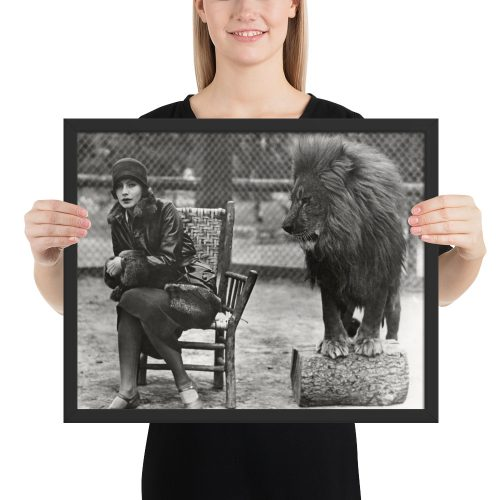 Old Hollywood Collection: Greta Garbo Meets Leo the Lion Framed photo paper poster