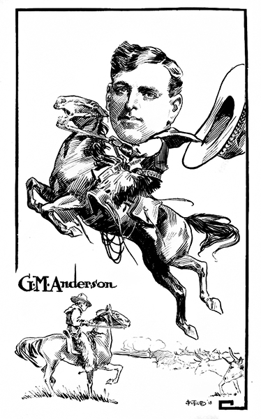 A Broncho Billy Anderson caricature from 1917. (Bizarre Los Angeles)