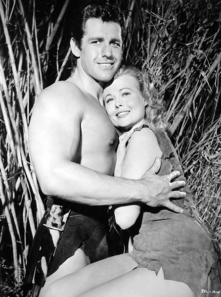 "Gordon Scott and Eve Brent in ""Tarzan's Fight for Life"" (1958). Bizarre Los Angeles."