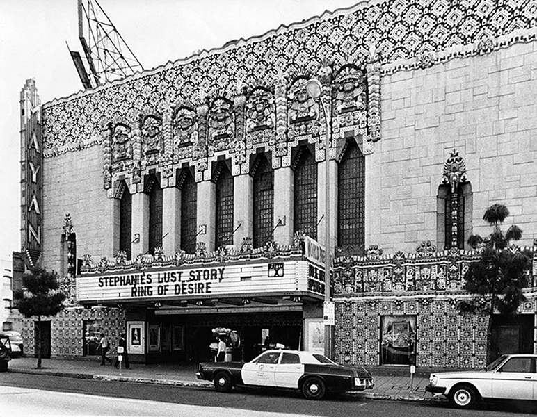 The Mayan Theatre (1038 S Hill St.) in 1983, when it was an adult movie house. (Photographer: Michael Edwards / LAPL 00028740) Bizarre Los Angeles