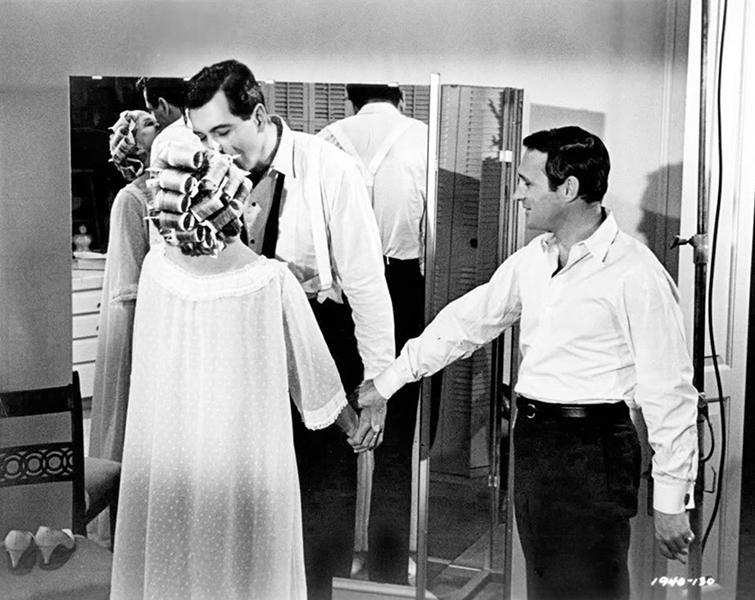 """Directing, in many ways, is manipulation because you're dealing with a lot of egos. You have to manipulate people into thinking it was their idea, to get them to do what you see as being the best, to edit them without their knowing they're being edited."" – Norman Jewison (right), directing Rock Hudson's screen kiss with Doris Day in ""Send Me No Flowers"" (1964). Bizarre Los Angeles"