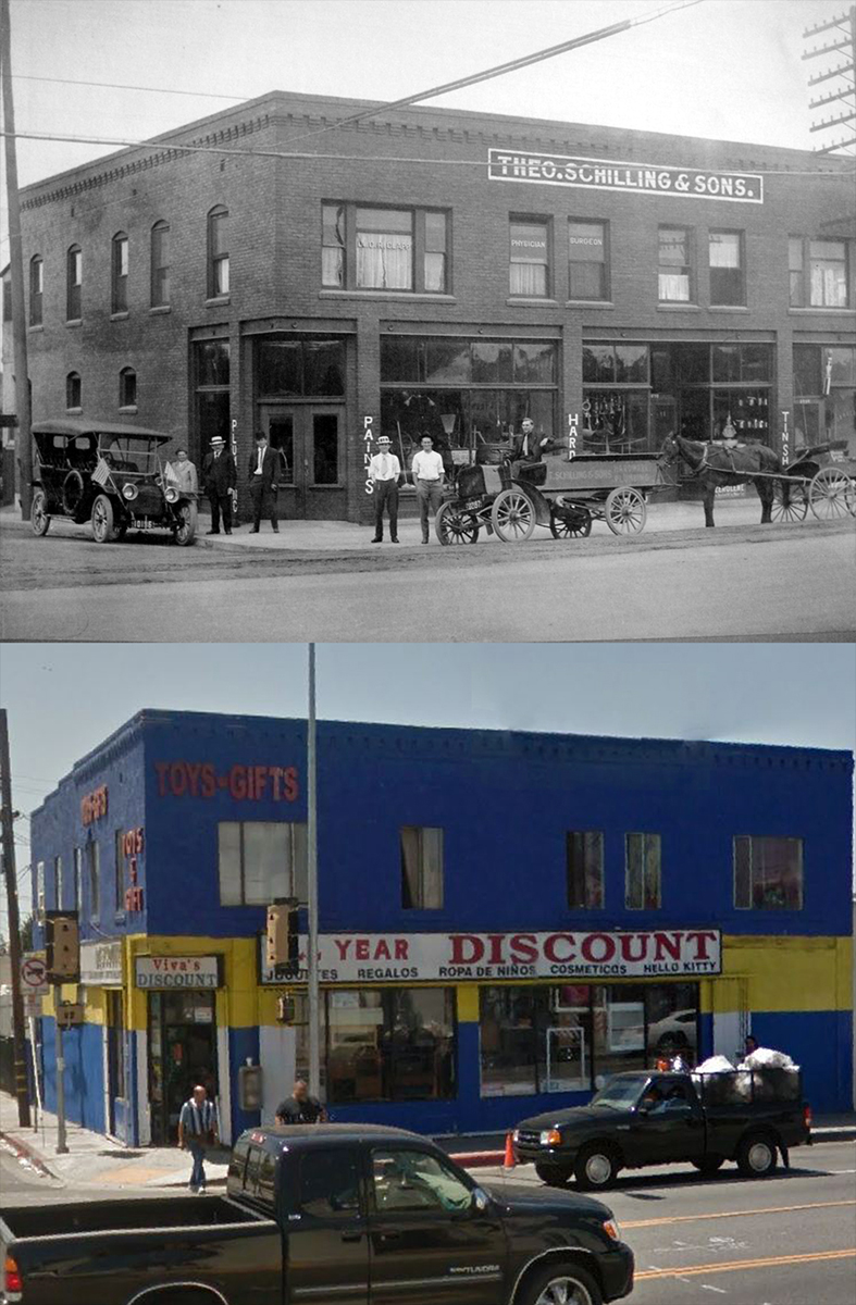 3828 Whittier Blvd in 1915 and today. Bizarre Los Angeles.