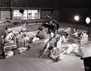 The Albertina Rasch dancers on break during rehearsals for the Broadway Melody of 1936. Photo by C.S. Bull. (Bizarre Los Angeles)