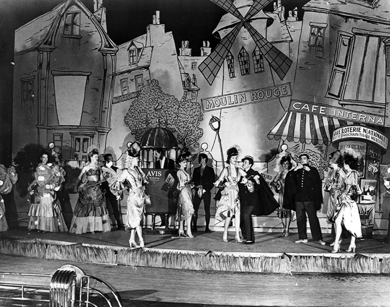 A stage show at the Earl Carroll Theatre (6230 Sunset Boulevard). Date: Sometime after 1938. Credit: Ralph Morris Collection/LAPL: 00014475 (Bizarre Los Angeles)