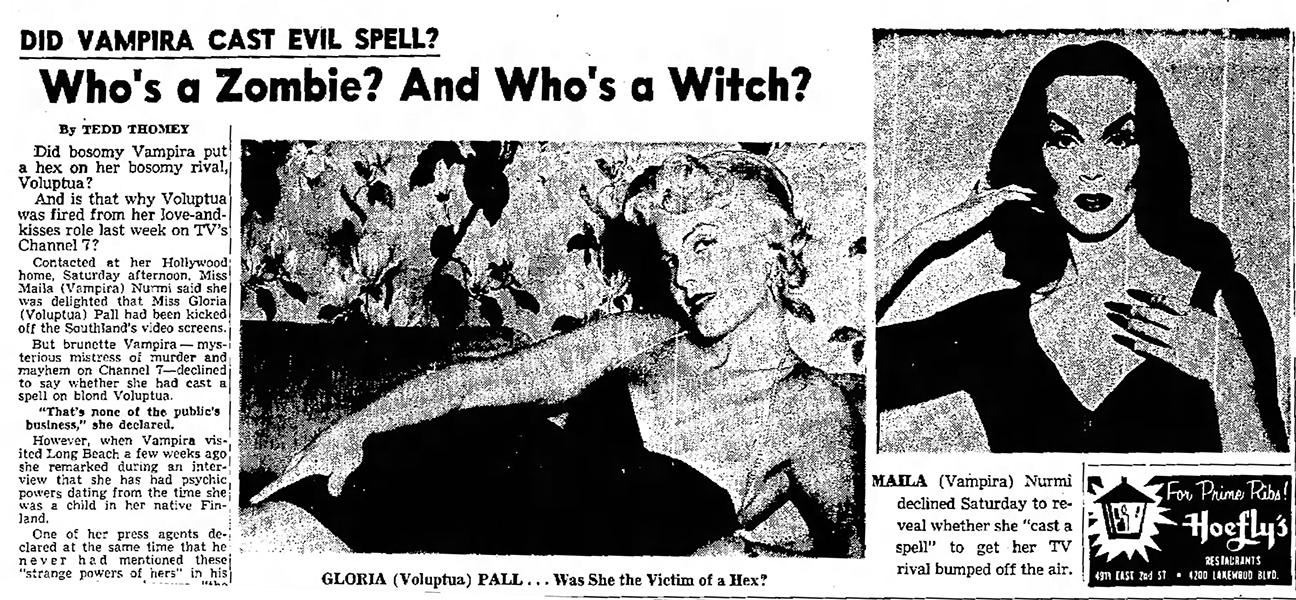 Voluptua Vs Vampira in 1955 (Bizarre Los Angeles)